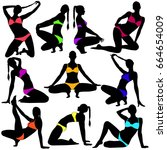 vector silhouettes of sexy... | Shutterstock .eps vector #664654009