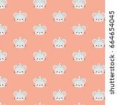 cute mouse pattern vector... | Shutterstock .eps vector #664654045