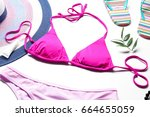 colorful bikini and beach... | Shutterstock . vector #664655059