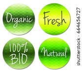 vector organic food labels and... | Shutterstock .eps vector #664656727
