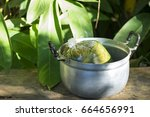 Small photo of Vegetable in the plastic bag inside pot which it is prepared to be cooked with banana leaf background - traditional life- folkway