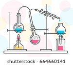 process of chemical reaction in ... | Shutterstock .eps vector #664660141