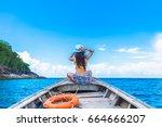 traveler woman in bikini...   Shutterstock . vector #664666207