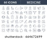 set of line icons  sign in flat ... | Shutterstock . vector #664672699