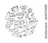 set of vector items for babies. ... | Shutterstock .eps vector #664674385