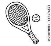 tennis racket and ball  ... | Shutterstock .eps vector #664676695