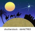 Three wisemen traveling to Bethlehem, following the star - vector illustration - stock photo