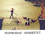 businessman balancing and... | Shutterstock .eps vector #664683757