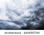 Heavy Dark Storm Cloud and Lightning. Stormy Weather - stock photo