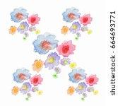 watercolor sweet flower pattern ... | Shutterstock . vector #664693771
