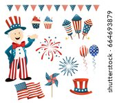 collection of independence day...   Shutterstock .eps vector #664693879