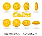 a set of gold coins with a... | Shutterstock .eps vector #664705771