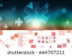 2d illustration medicine... | Shutterstock . vector #664707211