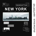 photo print manhattan... | Shutterstock . vector #664709749