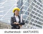 business asia woman engineer... | Shutterstock . vector #664714351