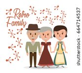 retro family grandparents with... | Shutterstock .eps vector #664714537