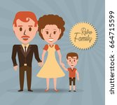 retro family parents with their ... | Shutterstock .eps vector #664715599