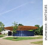 Small photo of LONDON - JUNE 21, 2017. The 17th temporary Serpentine Gallery annual Summer Pavilion is designed this year by African architect Francis Kere, opening on 23 June in Kensington Gardens, London, UK.