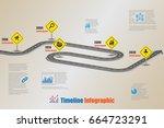 design template  road map... | Shutterstock .eps vector #664723291