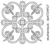 hand drawing pattern for tile... | Shutterstock .eps vector #664724917