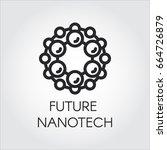 linear icon of future nanotech... | Shutterstock .eps vector #664726879