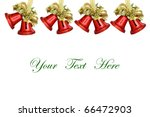 Red Christmas Bells on white background with space for message - stock photo