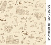 seamless pattern of italy... | Shutterstock .eps vector #664730701