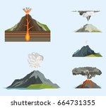 volcano magma nature blowing up ... | Shutterstock .eps vector #664731355