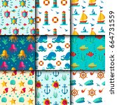 seamless vector patterns with... | Shutterstock .eps vector #664731559