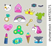 vector patch set   80s 90s... | Shutterstock .eps vector #664732171