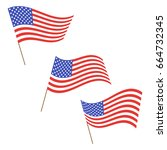 set of american flags. us flags ... | Shutterstock .eps vector #664732345