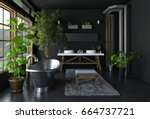 dark bathroom interior concept... | Shutterstock . vector #664737721