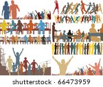 Set of editable vector foreground illustrations of colorful people - stock vector