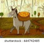 pet animal donkey on jungle...   Shutterstock .eps vector #664742485