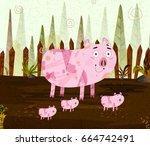 pet animal pig on jungle forest ...   Shutterstock .eps vector #664742491
