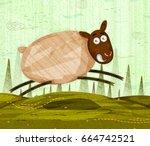 pet animal sheep on jungle...   Shutterstock .eps vector #664742521
