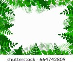 tropical jungle with leave... | Shutterstock .eps vector #664742809