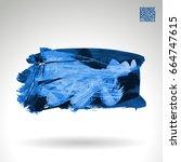 blue brush stroke and texture.... | Shutterstock .eps vector #664747615