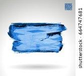 blue brush stroke and texture.... | Shutterstock .eps vector #664747681