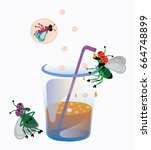 flies drink aerated water from... | Shutterstock .eps vector #664748899