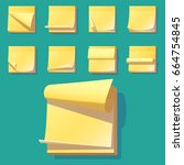 yellow office sticky memory... | Shutterstock .eps vector #664754845