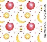 watercolor hand drawing fruits... | Shutterstock . vector #664755835