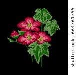 flower embroidery design. women'...   Shutterstock .eps vector #664761799