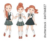 three cute girlfriends. set of... | Shutterstock .eps vector #664766827