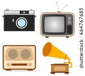 retro technique. old tv  camera ... | Shutterstock .eps vector #664767685
