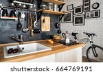 design of modern home kitchen... | Shutterstock . vector #664769191