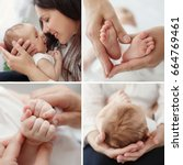 young mother holding her... | Shutterstock . vector #664769461