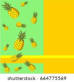 background with pineapples | Shutterstock .eps vector #664775569