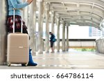 travel concept   tourist woman... | Shutterstock . vector #664786114