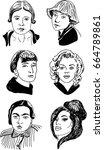 famous women  vector sketch | Shutterstock .eps vector #664789861